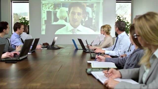 ds ms video conference with business partner - conference call stock videos & royalty-free footage