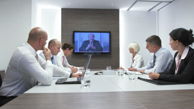 hd dolly: video conference with executive director - conference call stock videos & royalty-free footage