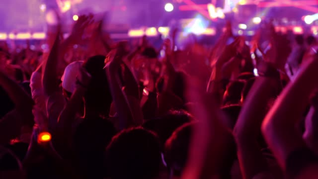 4K Video: crowded people in concert music festival.