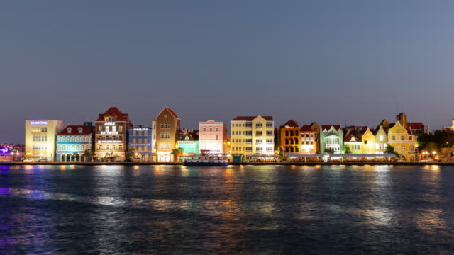 4K Video Day to Night Timelapse Cityscape of Willemstad, Netherlands Antilles, Curacao