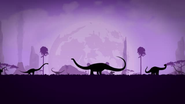 Video Dinosaur Park. Silhouettes of dinosaurs against the background of the night sky. Diplodocus silhouettes walk in the dinosaur park.