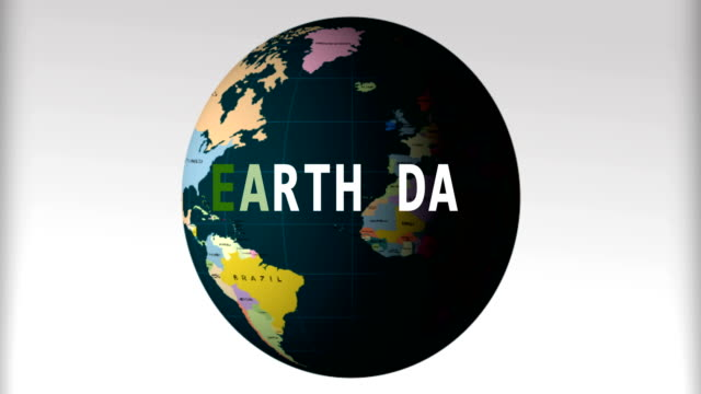 4K Video. Earth Day. Planet Erath in moving. The world map on white background. video