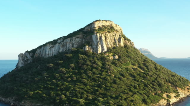 vídeos de stock, filmes e b-roll de vídeo acima, vista aérea de uma linda figarolo ilha situada a nordeste da sardenha, itália. - penedo