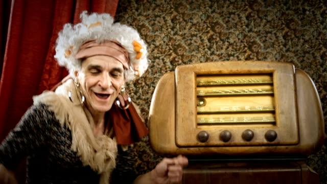 HD video funny old grandma dance on vintage radio song
