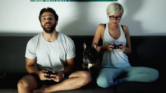 Video gaming duel between couple video
