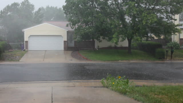 HD video heavy rain over Colorado homes video