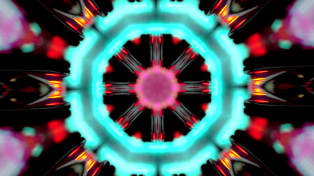 video in the shape of a kaleidoscope of mandala rotating and changing that open in geometric shapes and flowers formed with movement in colors and black background