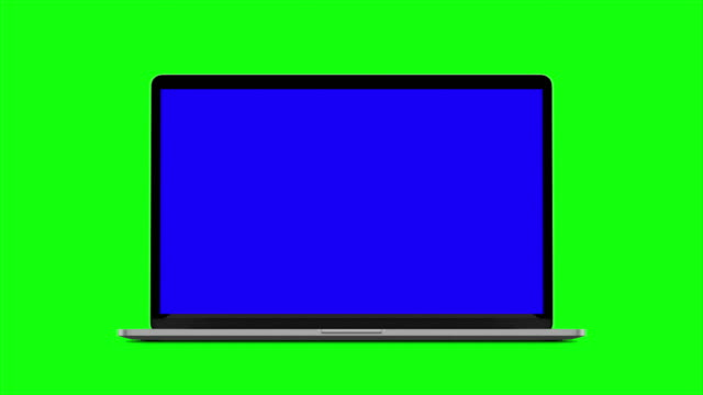 4K Video. Laptop (Notebook) Turning On With blue Screen On A Green Background.