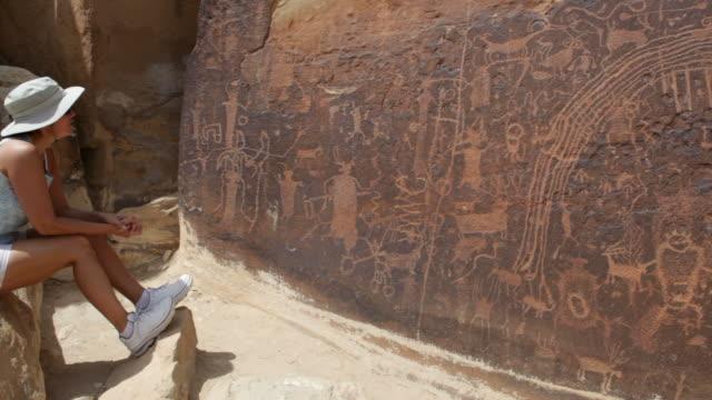 HD video large rock art panel Rochester petroglyphs Utah video
