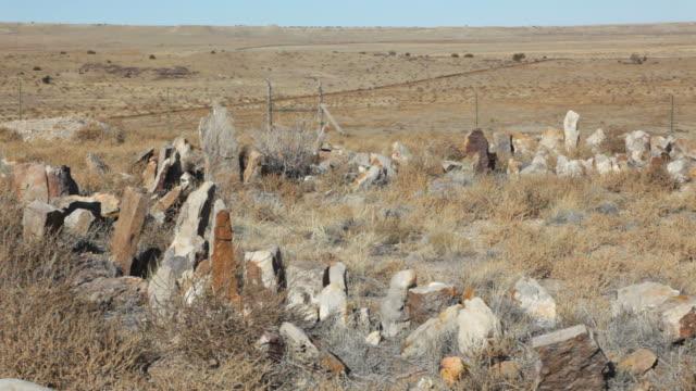 HD video man explores Native American ruins Colorado grasslands video