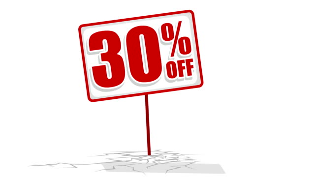 Video of 30 % discount sign
