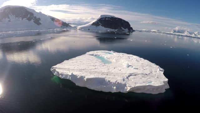 Video de un icebergs flotantes en Paradise Harbor (Bahía del paraíso) en la Península Antártica, Antártida - vídeo