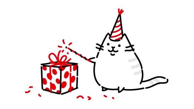 vídeos de stock, filmes e b-roll de vídeo de um gatinho em um boné com presentes. desenhando em um fundo branco. kawaii estilo mão fez animação contorno. gato mágico fofo mostra truques. gato bobo cumpre desejos. meme de vídeo. - clip art