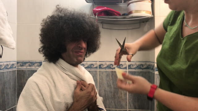 4K Video Of Adult Man Having Hair Cut At Home During Covid-19 Lockdown video