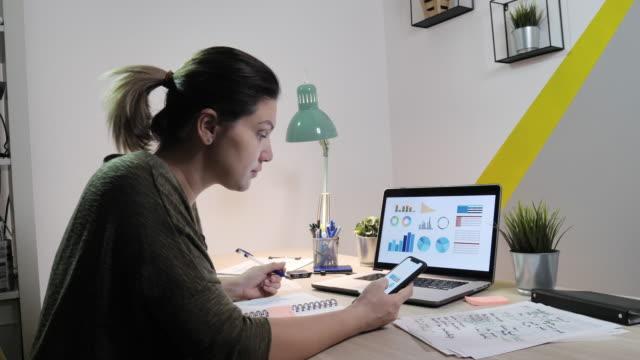video von erwachsenen frauen, die von zu hause aus arbeiten, umgang mit finanzen aufgrund der corona-virus-sperre - smartphone mit corona app stock-videos und b-roll-filmmaterial