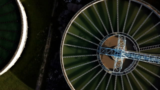 4k video of aerial view of water treatment plant - acquedotto video stock e b–roll