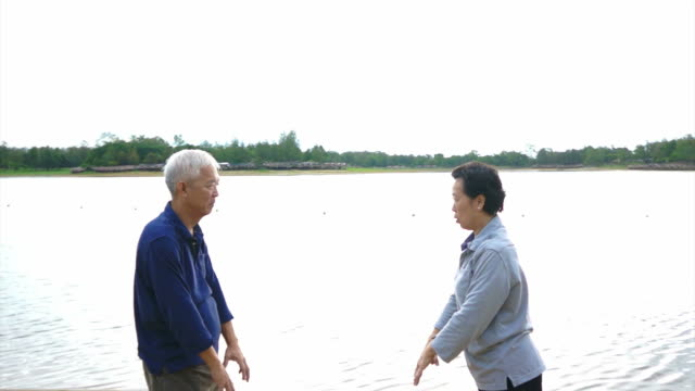 Video of Asian Senior Elderly couple Practice Taichi, Qi Gong exercise outdoor next to the lake Video of Asian Senior Elderly couple Practice Taichi, Qi Gong exercise outdoor next to the lake yin yang symbol stock videos & royalty-free footage