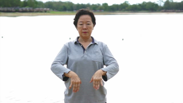 Video of Asian Senior Elderly Practice Taichi, Qi Gong exercise outdoor next to the lake Video of Asian Senior Elderly Practice Taichi, Qi Gong exercise outdoor next to the lake yin yang symbol stock videos & royalty-free footage
