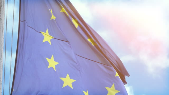 Video of European Union Flag in 4k video