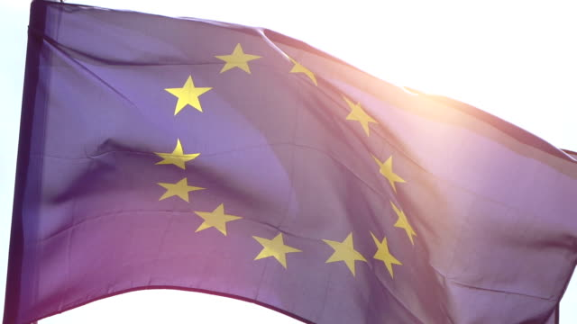 Video of European Union Flag in real slow motion video