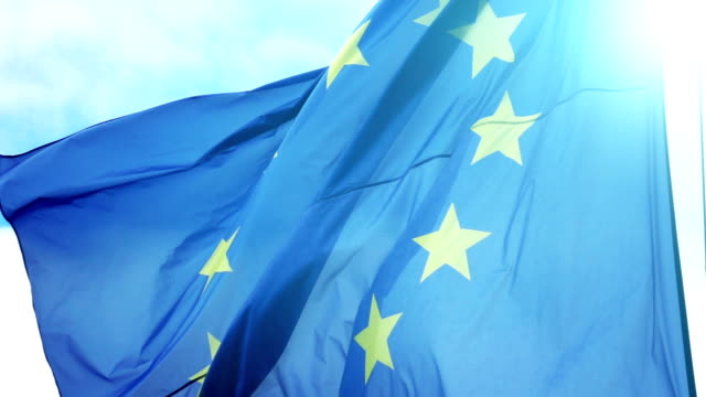 Video of European Union Flag in slow motion video