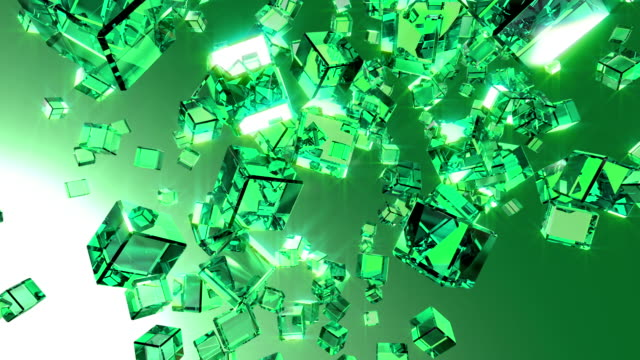 Video of falling cubes in slow motion - loopable background video