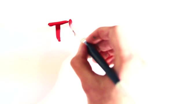 Vidéo de la main écrire: Merci vous - Vidéo