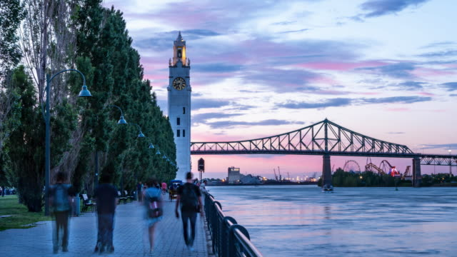 Video of Montreal city at sunset during summer.