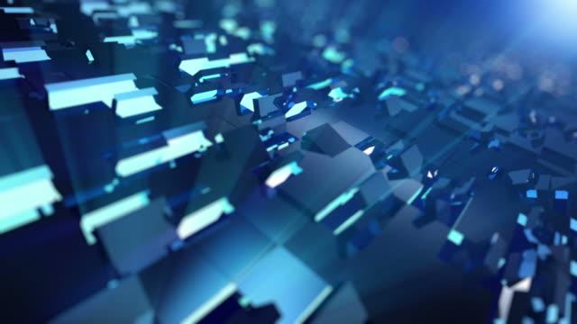 ビデオの移動青色キューブ-ループ背景に 4 k - 立方体点の映像素材/bロール