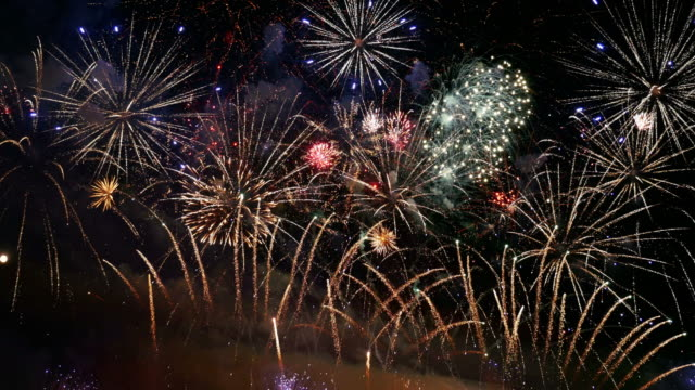 Video of new year fireworks in 4K