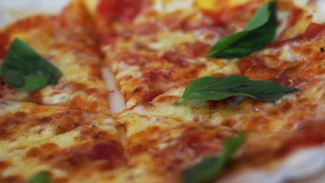 ビデオカメラをパンの 2 つのマルガリータのピザ ビデオ