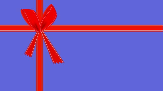 stockvideo's en b-roll-footage met video van paarse gift card met rood lint - birthday gift voucher