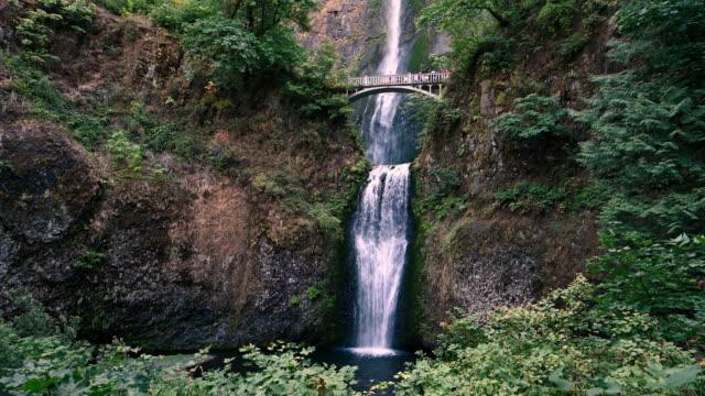 UHD Video of Scenic Multnomah Falls Landscape in the Pacific North West