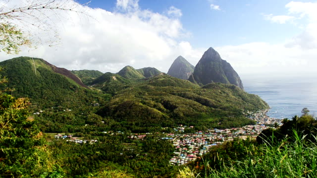 Video of Soufriere with pitons background
