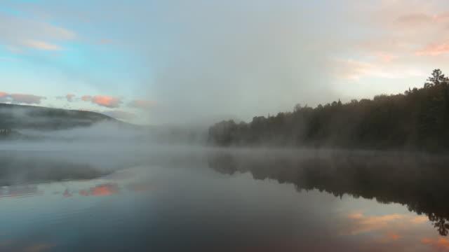 Video 4K Video of Sunrise at Monroe Lake, Tremblant, Quebec, Canada