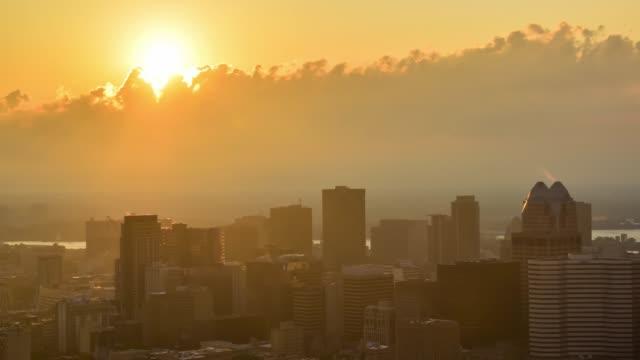 video of sunrise over the city - smog video stock e b–roll