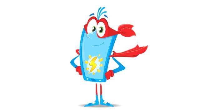video av processen för super laddning av batteriet. en rolig glad powerbank i en röd mantel får en ström. handritade animation. - superhjälte isolated bildbanksvideor och videomaterial från bakom kulisserna