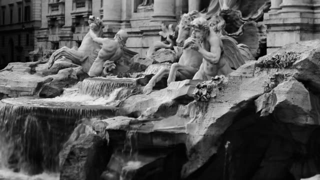 Video of the Trevi Fountain in Monochrome video