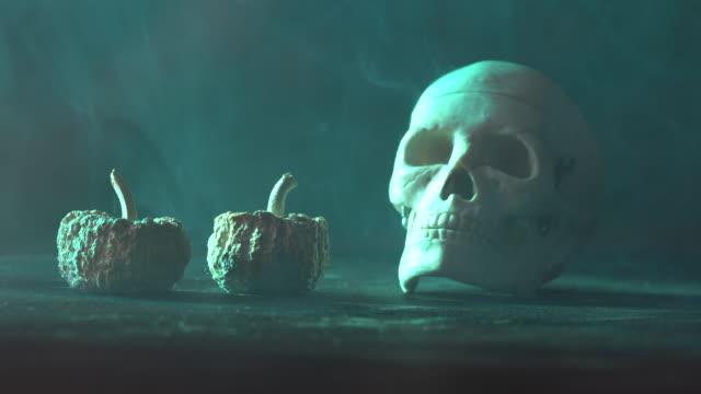 vídeos y material grabado en eventos de stock de video 4k de dos calabazas y cráneo humano para el concepto de halloween - halloween covid