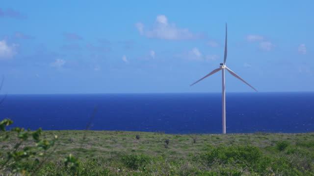 キュラソーのカリブ海沿いの風タービンの 4 k 映像 - 石炭点の映像素材/bロール
