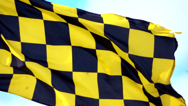 Video of yellow and black checkered Flag in 4K video