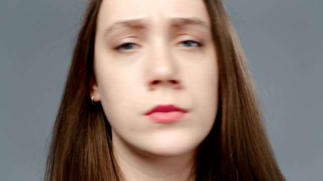 video of young denying girl in black shirt, portrait - top nero video stock e b–roll
