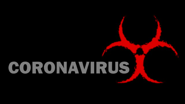 Video on the dangers of coronavirus infection. Biohazard sign with effect in red and white text Biohazard sign with traffic effect in red and white text Coronavirus on a black background covid icon stock videos & royalty-free footage