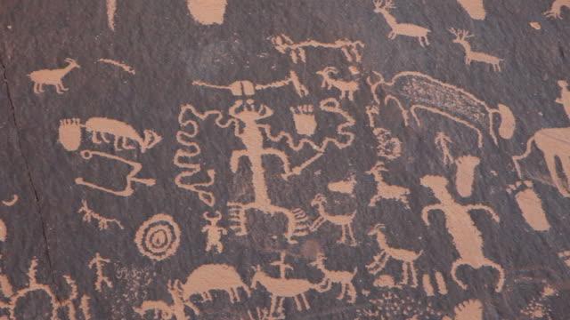 HD Video Panel Native American Newspaper Rock petroglyphs Utah video