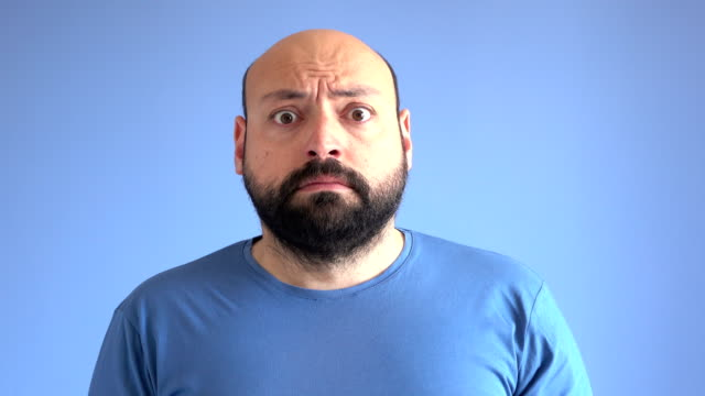 UHD Video Portrait Of Frightened Adult Man video
