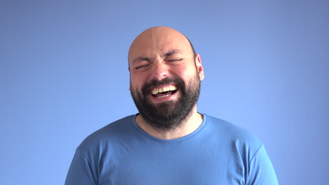 UHD Video Portrait Of Laughing Adult Man video