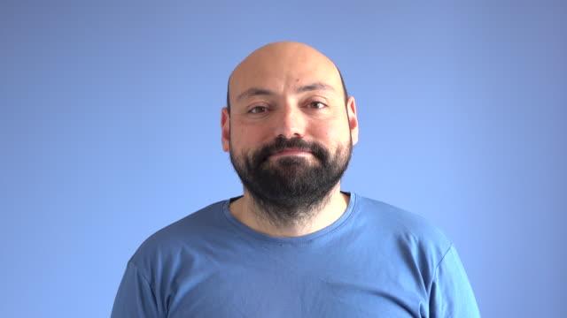 UHD Video Portrait Of Satisfied Adult Man video