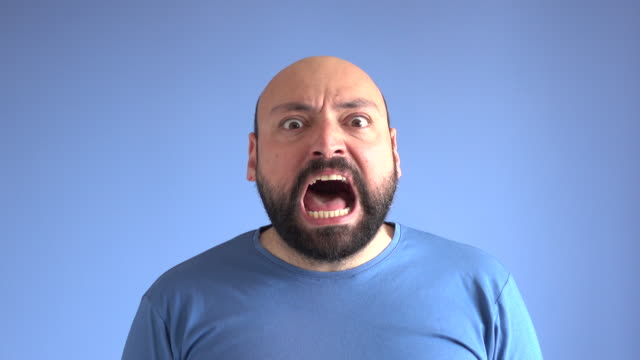 UHD Video Portrait Of Shouting Adult Man video