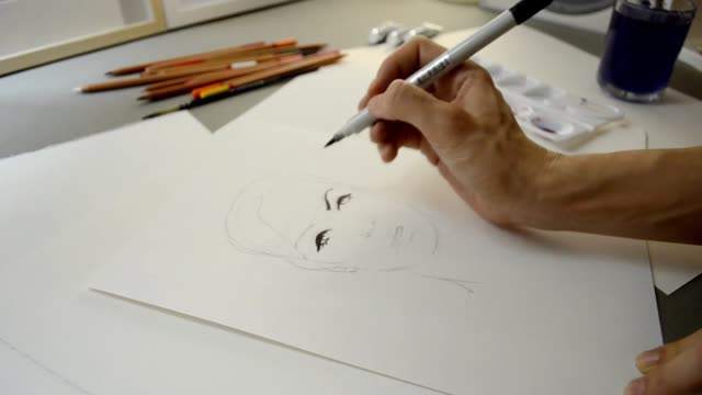 Video process of painting fashion sketch Face