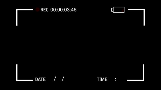 Video Recorder Camera View Display on a Black background video